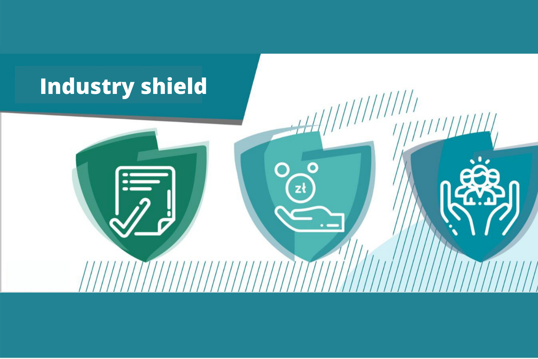 Industry shield. Three shields in shades of green on a white background