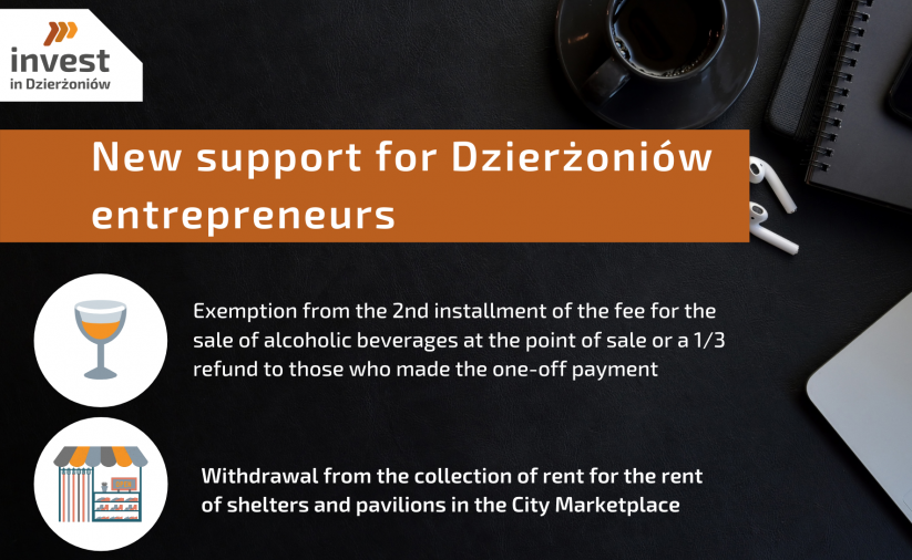 The poster contains information about new forms of support for entrepreneurs in the form of exemption from the 2nd installment of the fee for the sale of alcoholic beverages at the point of sale or refund of 1/3 of the fee to those who paid the fee once and withdrawal from the collection of rent for the rental of shelters and pavilions in the City Marketplace